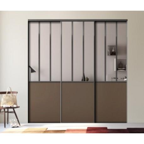 3 portes de placard coulissantes décor effet atelier, miroir argent et châtaigne