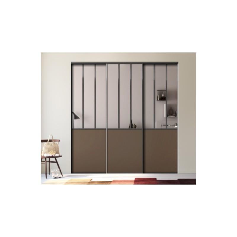 3 portes coulissantes kazed effet atelier d cor miroir. Black Bedroom Furniture Sets. Home Design Ideas