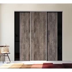 3 portes coulissantes KAZED KONTRAST bois fumé brut et verre lisse noir 2200 x 3000 DEDICACE Alu naturel