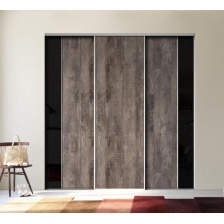 3 portes de placard coulissantes décor bois fumé brut et verre lisse noir