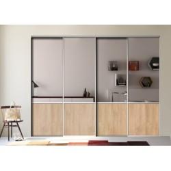 4 portes coulissantes miroir argent et chêne blond 2200 x 3000 profil Alu naturel