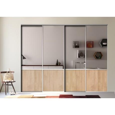 4 portes de placard coulissantes décor miroir argent et chêne blond
