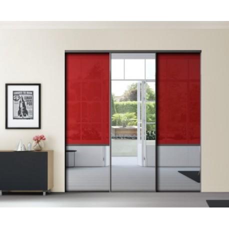 3 portes de placard coulissantes KARMA 1 verre lisse rouge et miroir argent