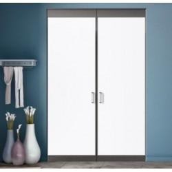 2 portes pivotantes de placard laqué noir mat 2400x1600 profil blanc perlé