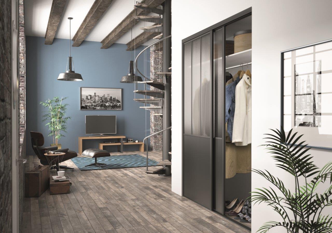 nouveau les portes coulissantes effet atelier blog univers du placard. Black Bedroom Furniture Sets. Home Design Ideas