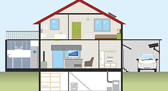 Schéma d'une maison correspondant aux idéaux des Français.