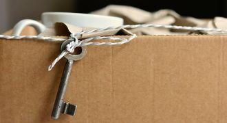 Illustration d'un déménagement par un carton rempli d'objets.