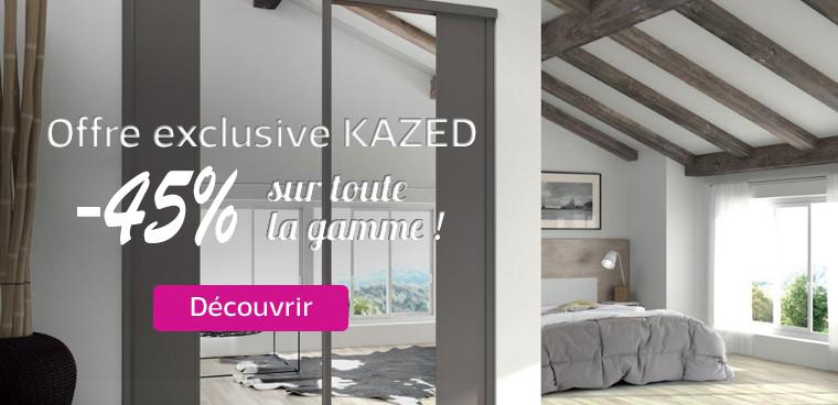 45% de réduction sur les portes de placard Kazed